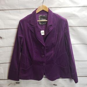 MXM Addition Elle Purple Velvet Stretch Blazer New NWT Plus Size 1X Career Work